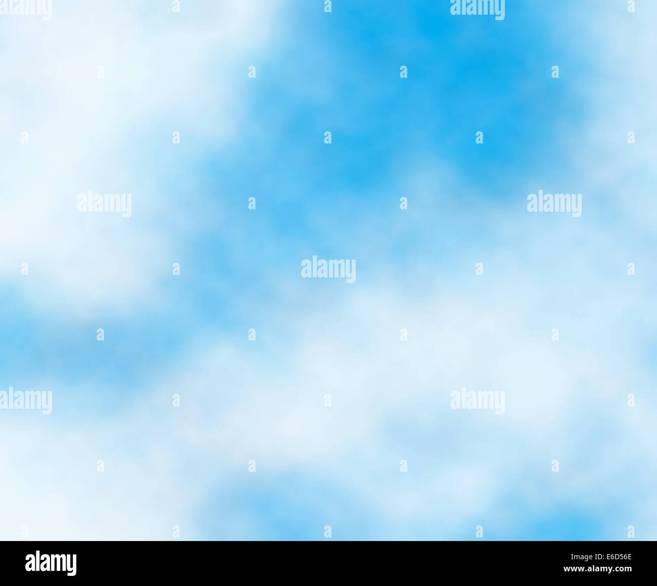 Editable vector background detail of white clouds in a blue sky - Stock Image