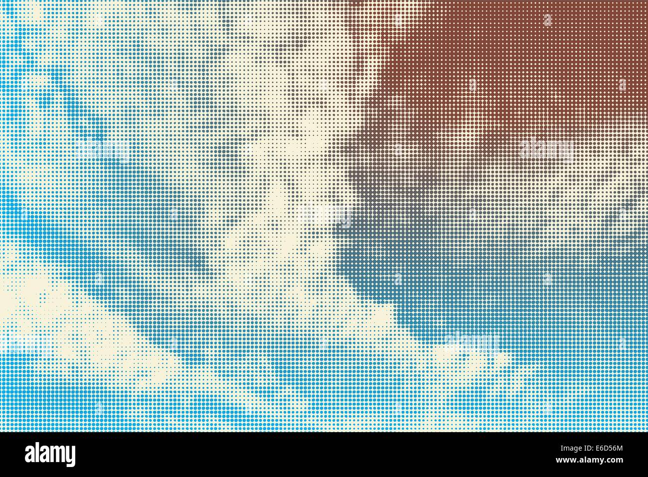 Halftone editable vector illustration of sky and clouds - Stock Image