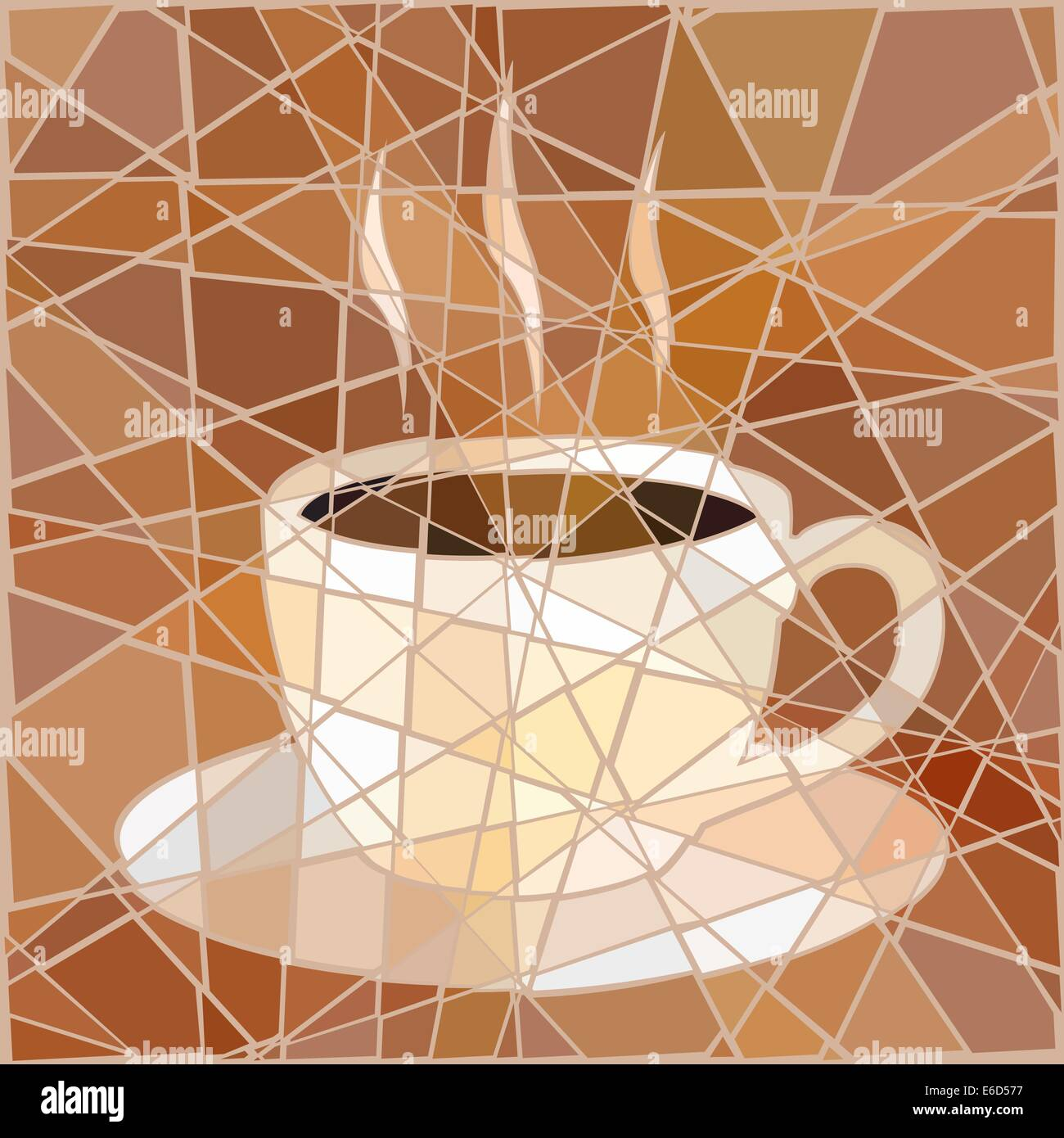 Editable vector mosaic illustration of a cup of steaming coffee - Stock Image