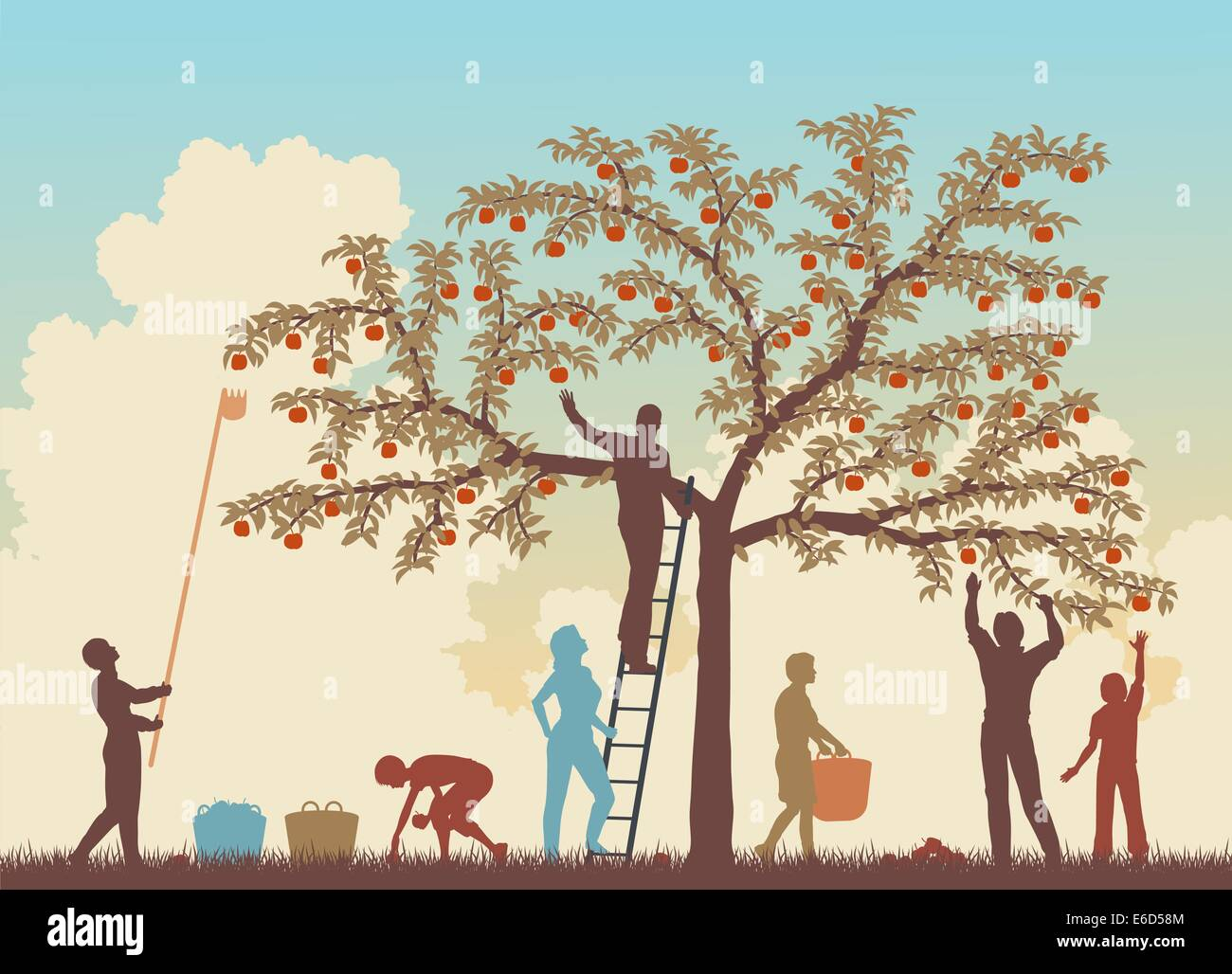 Editable vector colorful illustration of a family harvesting apples from a tree - Stock Vector