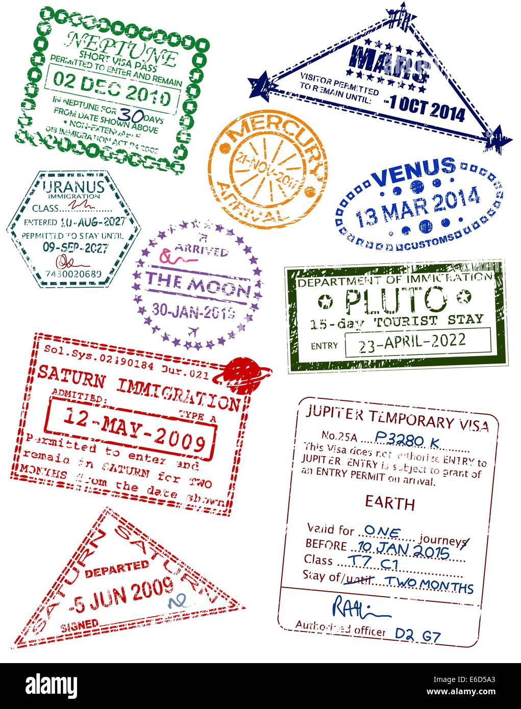 Set of editable vector visas from different planets Stock Vector