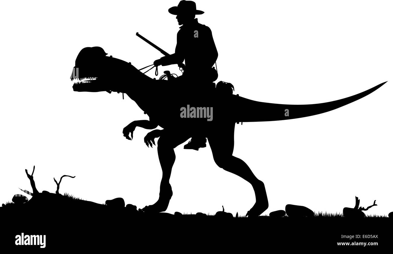 Editable vector silhouette of a cowboy riding a Dilophosaurus dinosaur as separate objects - Stock Image