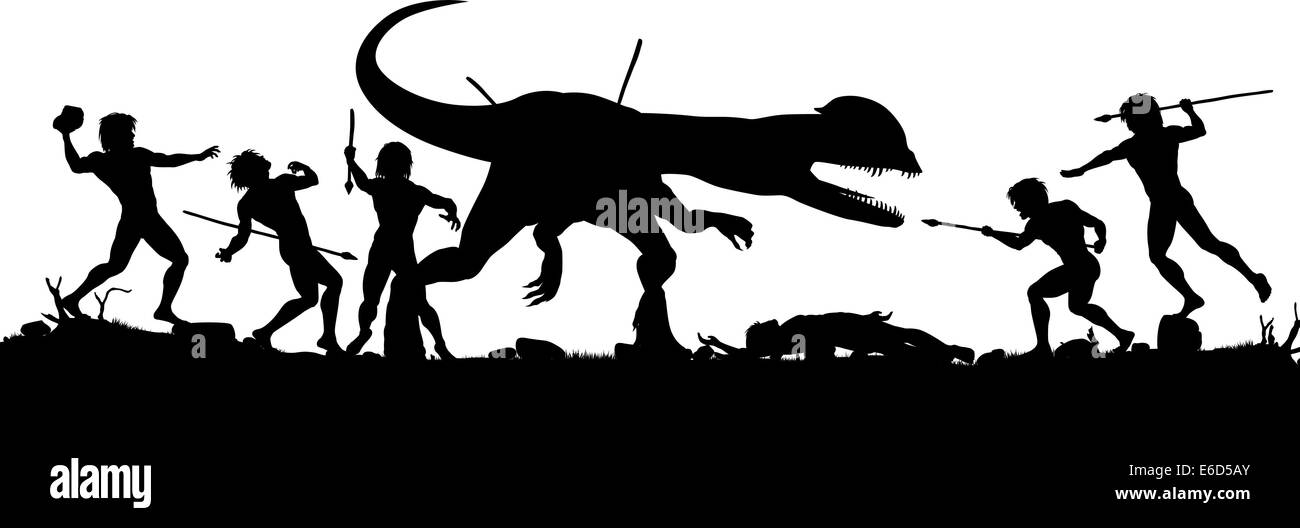 Editable vector silhouette of cavemen fighting a Dilophosaurus dinosaur with all elements as separate objects - Stock Vector