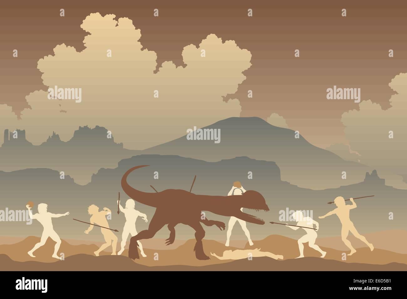 Editable vector illustration of cavemen fighting a Dilophosaurus dinosaur in a primeval landscape - Stock Vector