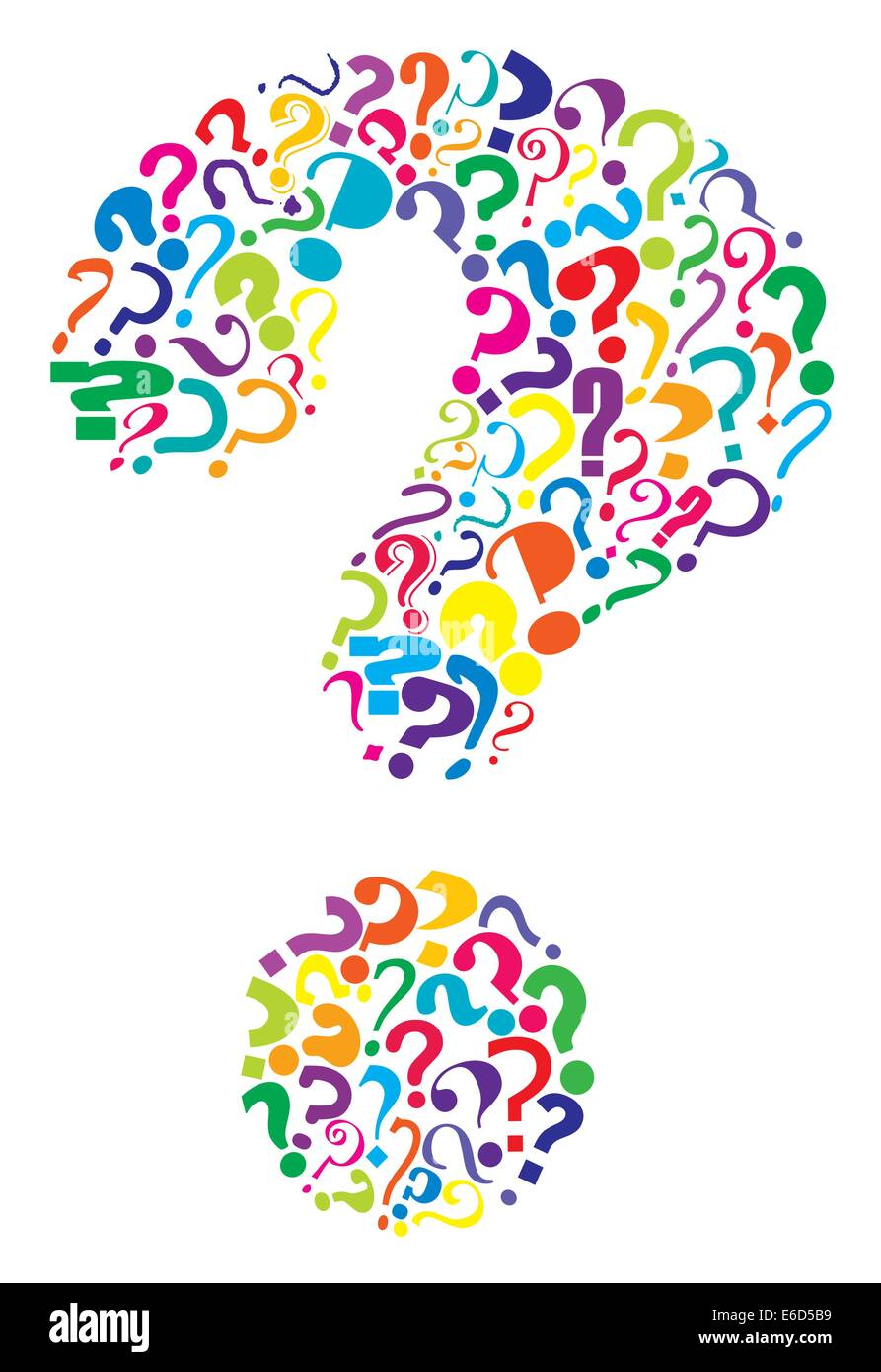 Editable vector question mark formed from many question marks - Stock Image