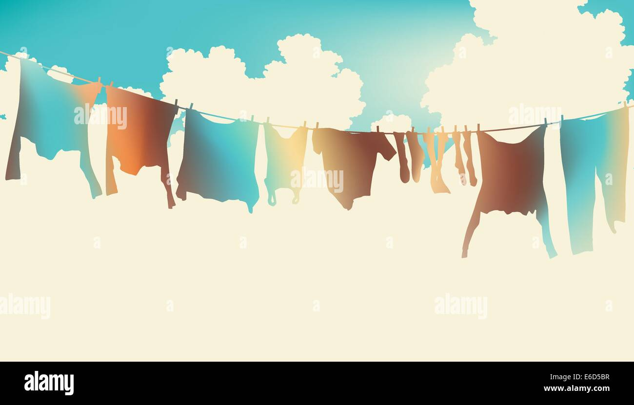 Editable vector illustration of colorful clothes on a washing line - Stock Image