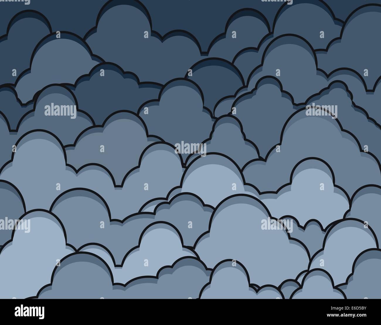 Editable vector illustration of dark heavy clouds - Stock Image