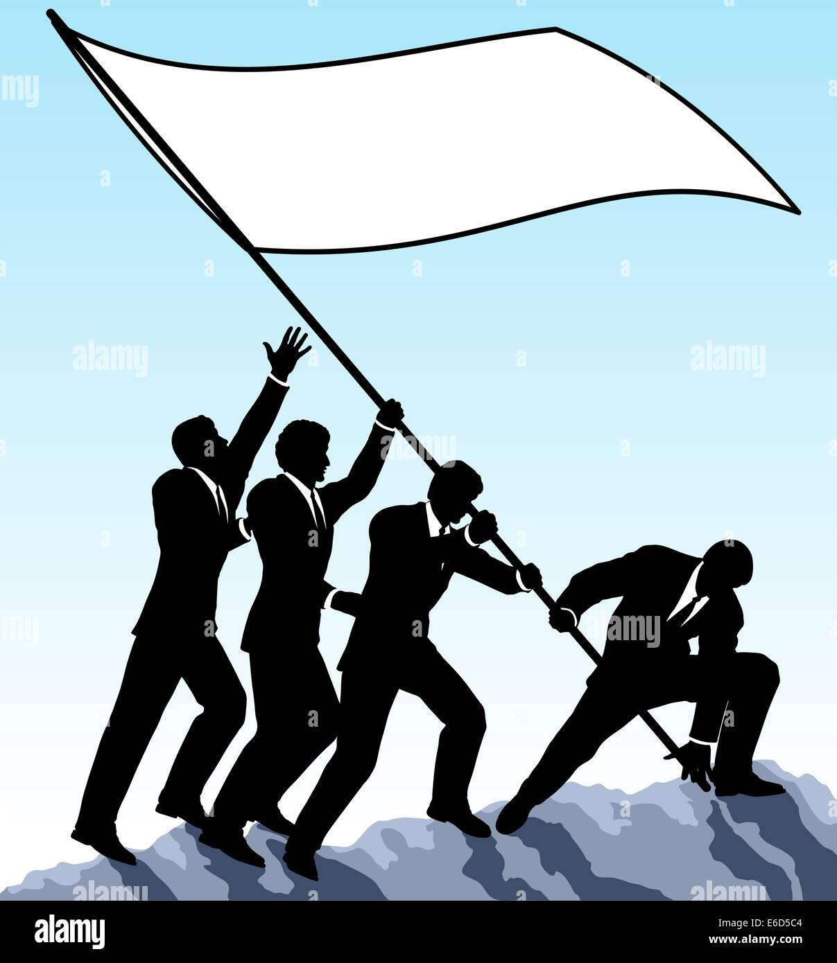 Editable vector illustration of businessmen raising a flag with all elements as separate objects - Stock Vector