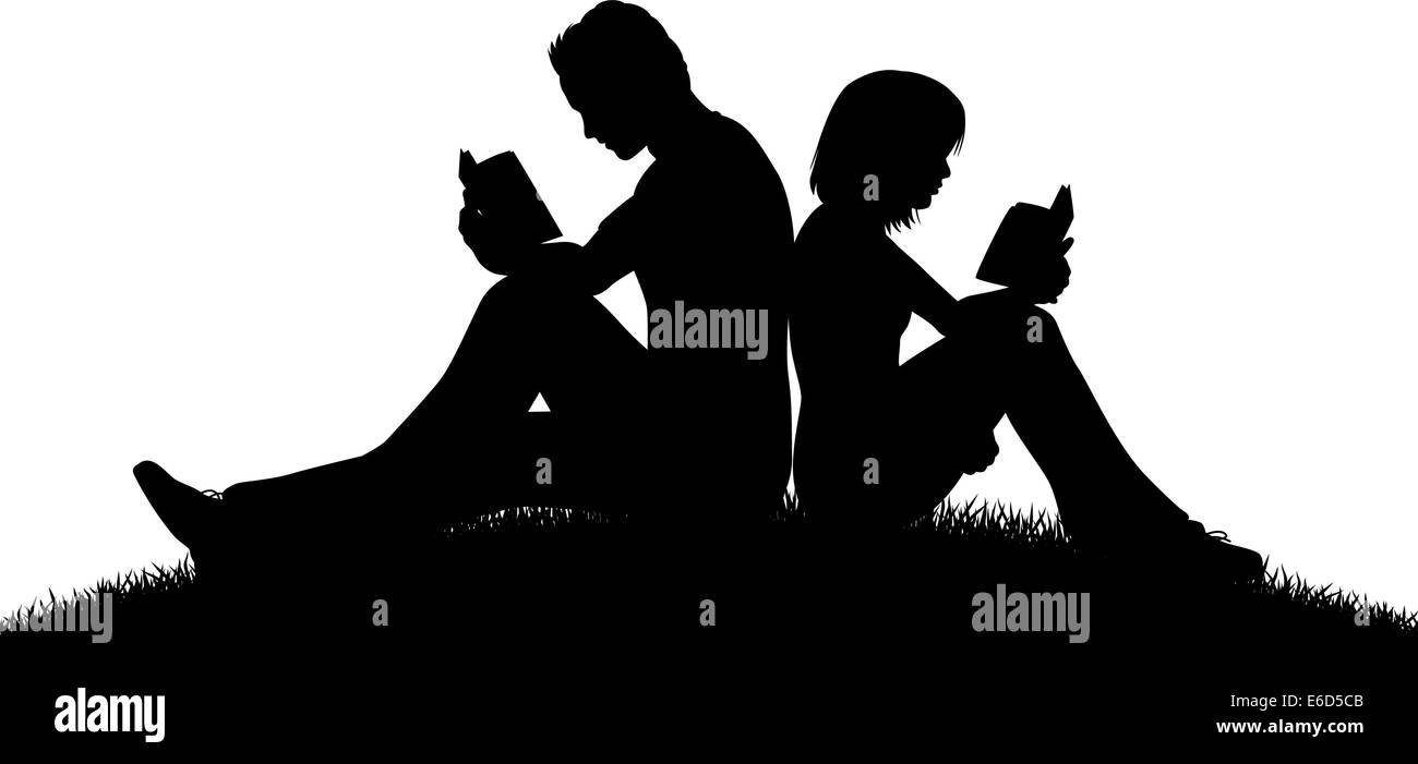 Editable vector silhouette of a couple sitting outside reading with figures as separate objects - Stock Vector