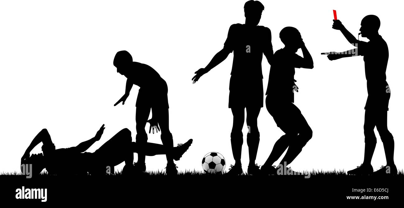 Editable vector silhouette of a referee sending off a footballer with all elements as separate objects - Stock Image