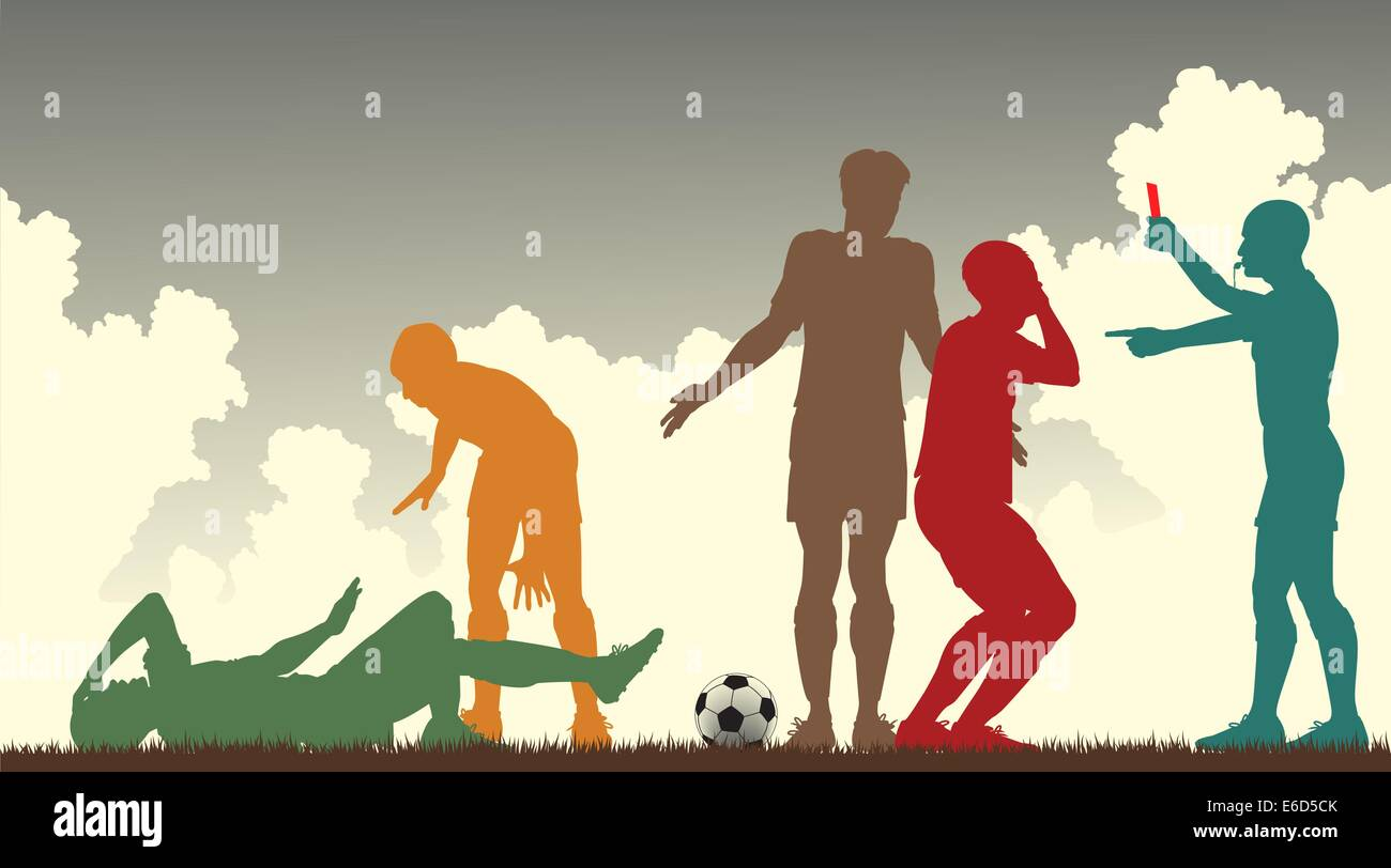 Editable vector colorful silhouettes of a referee sending off a footballer Stock Vector