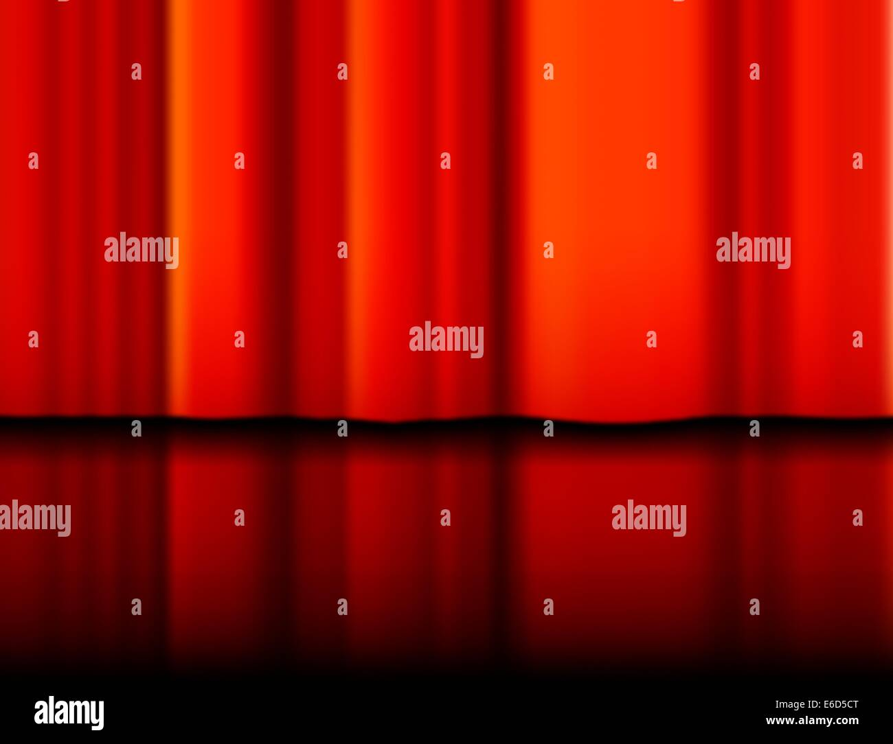 Editable vector illustration of a red curtain and reflection made with a gradient mesh Stock Vector