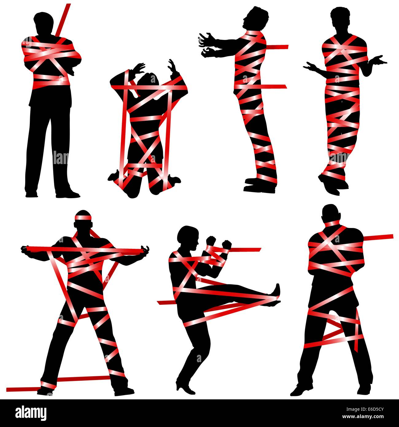 Set of editable vector silhouettes of people wrapped in red tape - Stock Vector