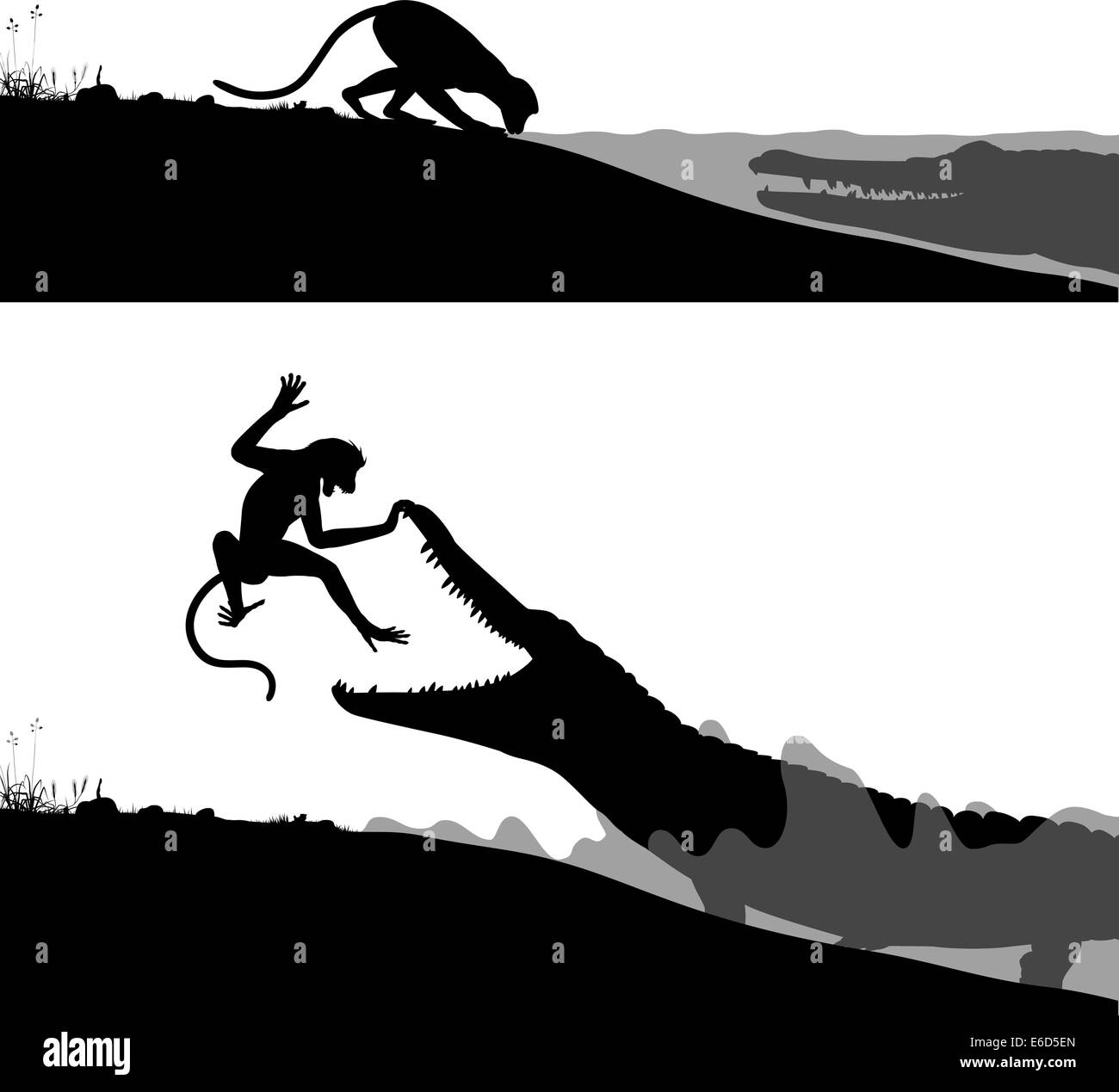 Editable vector silhouettes of a crocodile hunting a thirsty monkey - Stock Image