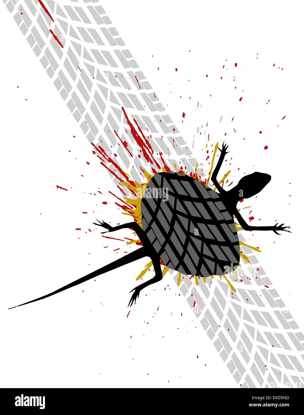 Editable vector illustration of a road-killed lizard - Stock Vector