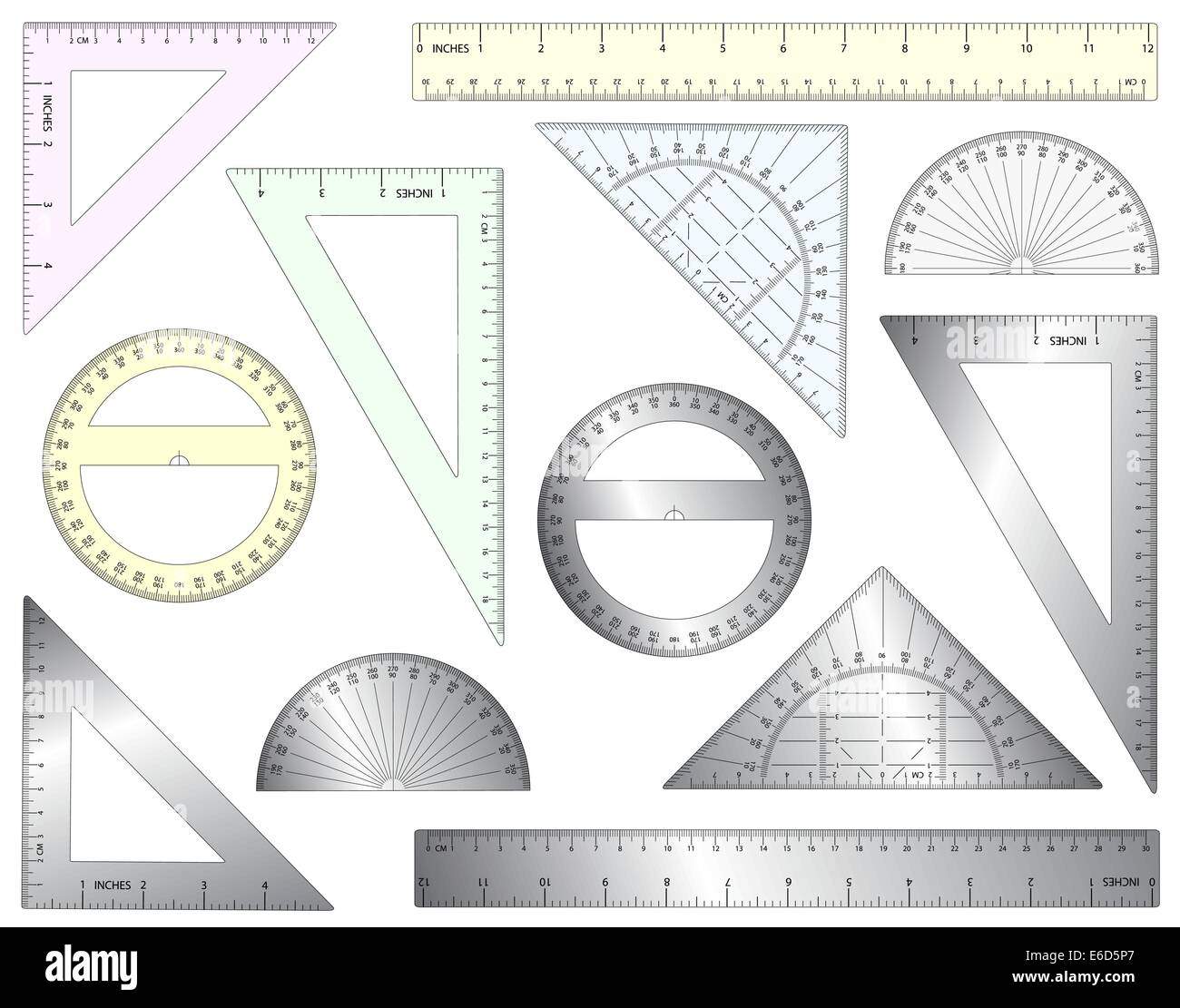 Set of editable vector rulers, set squares and protractors in plastic and metal - Stock Vector