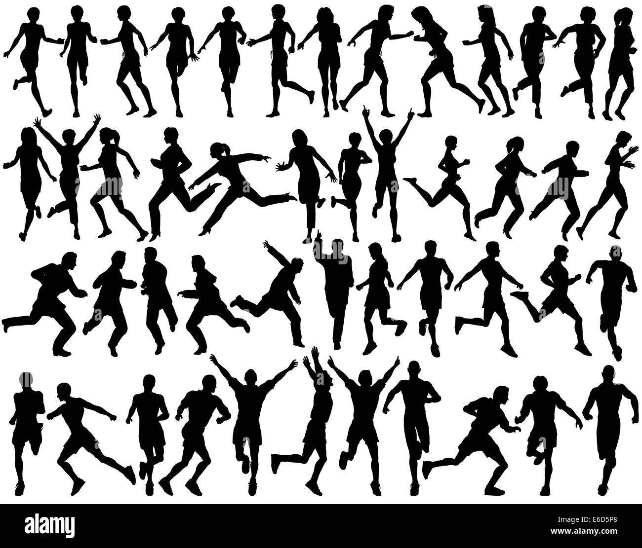 Set Of Editable Vector Silhouettes People Running
