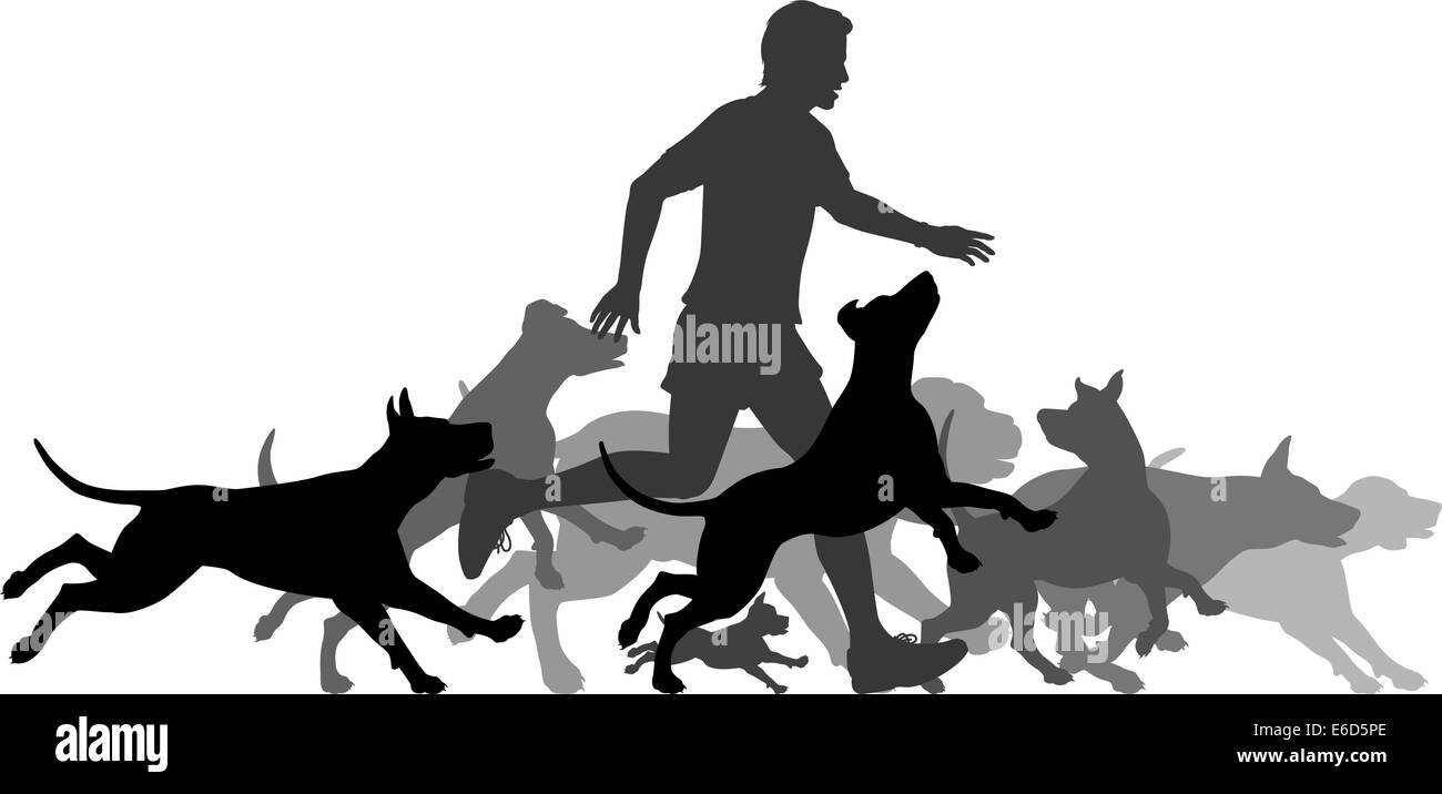Editable vector silhouettes of a man and pack of dogs running together with all elements as separate objects Stock Vector