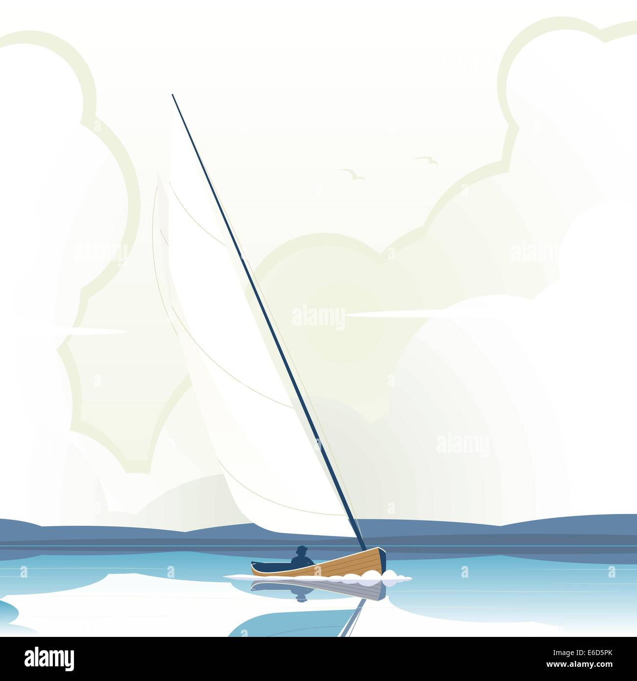 Editable vector illustration of a man sailing a yacht on calm water - Stock Vector