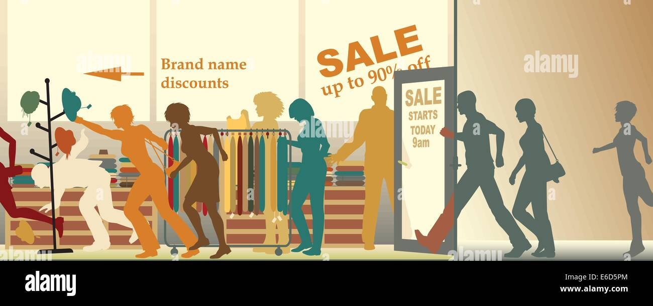 Editable vector illustration of a sale opening at a store - Stock Vector