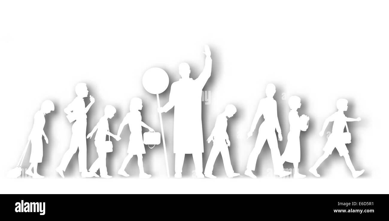 Editable vector cutout silhouettes of school children crossing a road with background shadow made using a gradient - Stock Vector