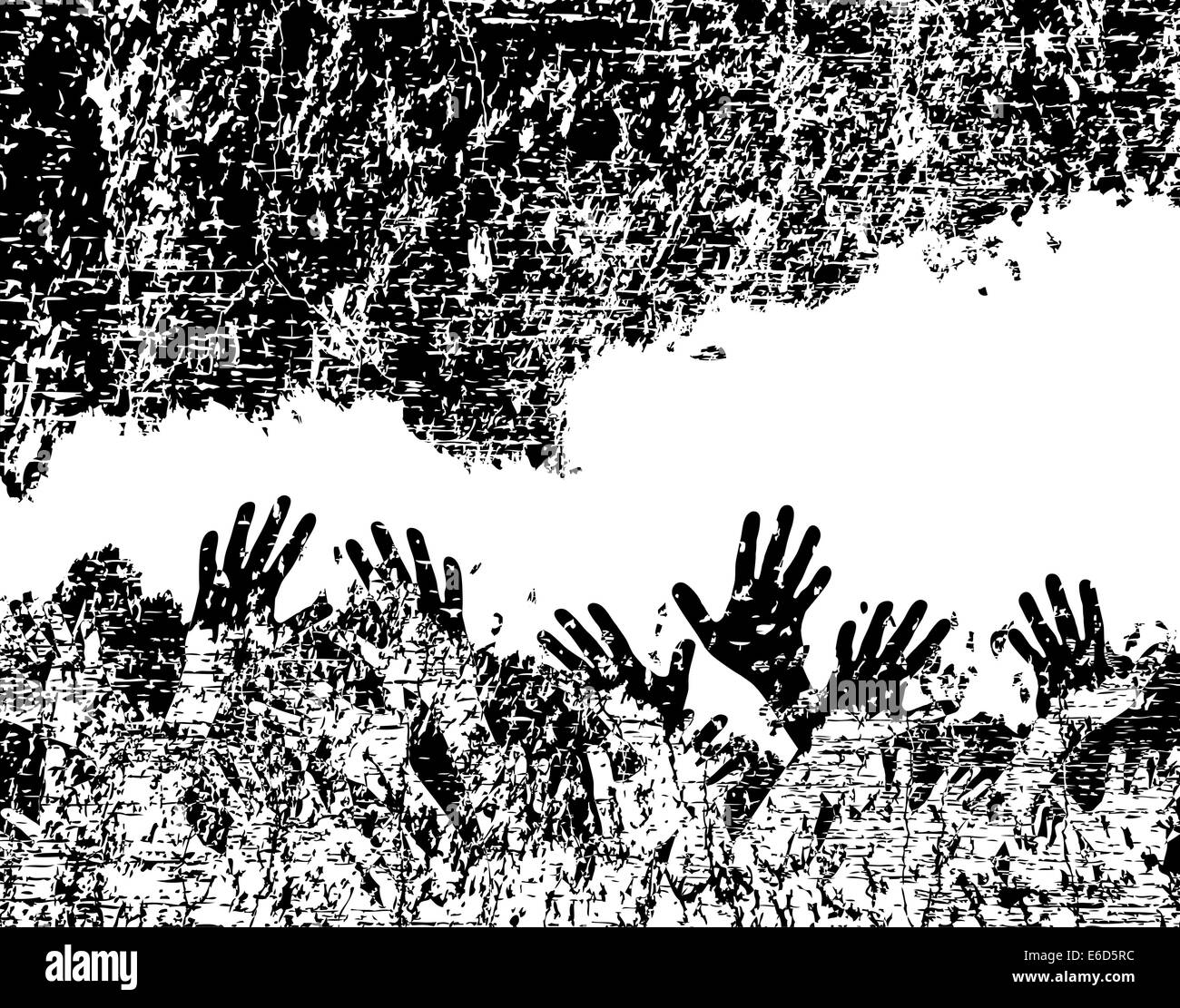 Background editable vector illustration of hands in a rock crevice - Stock Vector