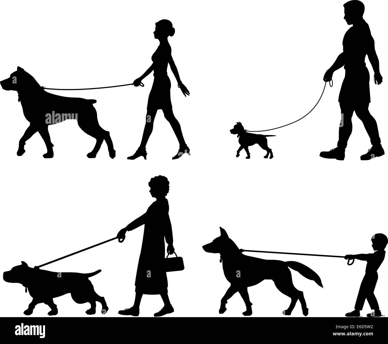 Editable vector silhouettes of contrasting dogs and owners - Stock Vector