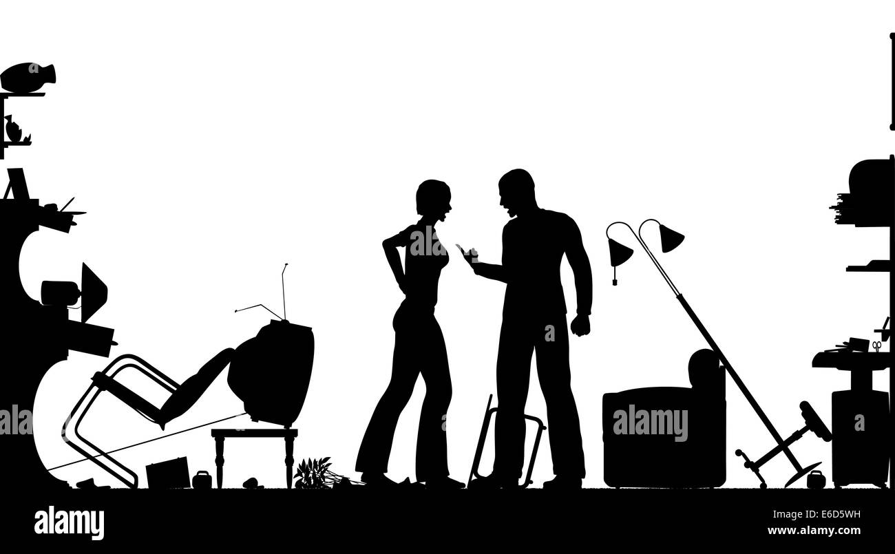 Foreground silhouette of a couple having a serous domestic argument in a living room with all elements as separate - Stock Image