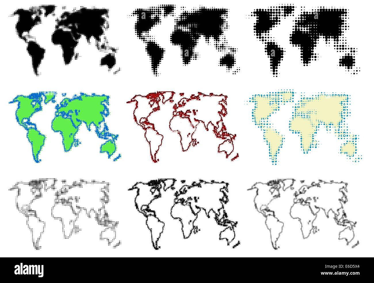 World map dots stock photos world map dots stock images alamy set of editable vector halftone world maps stock image gumiabroncs Images