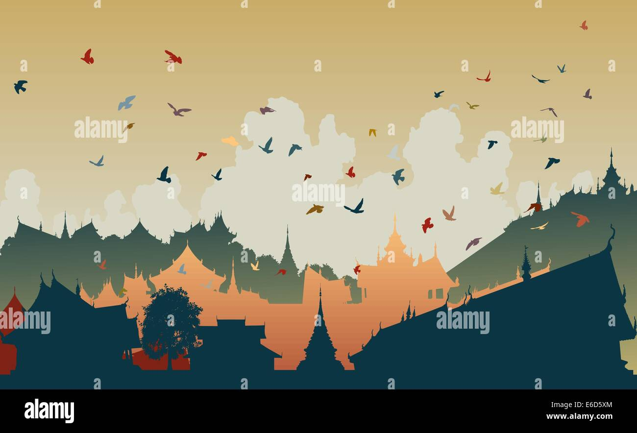 Colorful editable vector illustration of birds over a generic east asian city Stock Vector