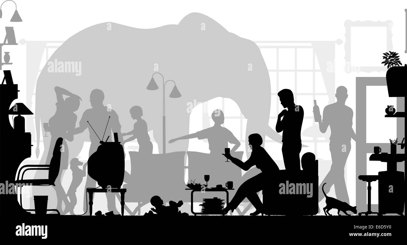 Editable vector silhouettes of a family gathering in a living room ...