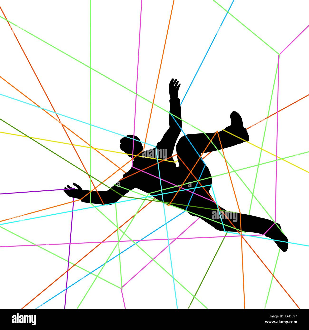 Editable vector illustration of a man entangled in colorful threads - Stock Vector
