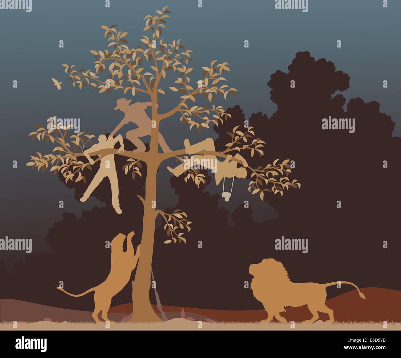 Editable vector illustration of three men chased into a tree by a pair of lions - Stock Vector