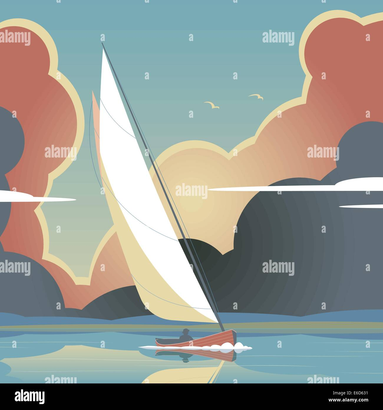 Editable vector illustration of a man sailing a yacht on calm water - Stock Image