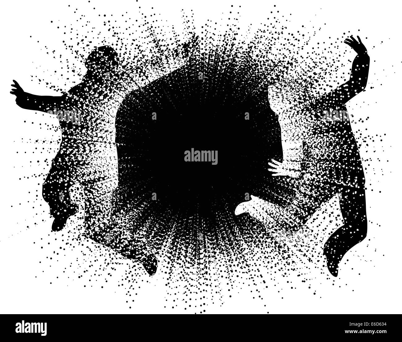 Editable vector illustration of two people caught in an explosion - Stock Vector