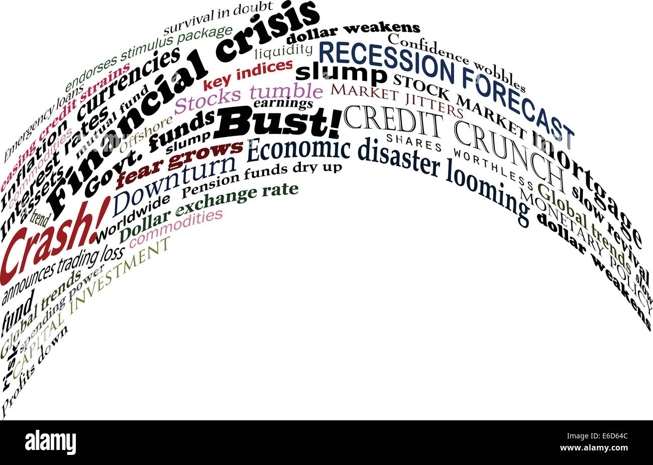 Vector design of headlines about economic problems - Stock Image