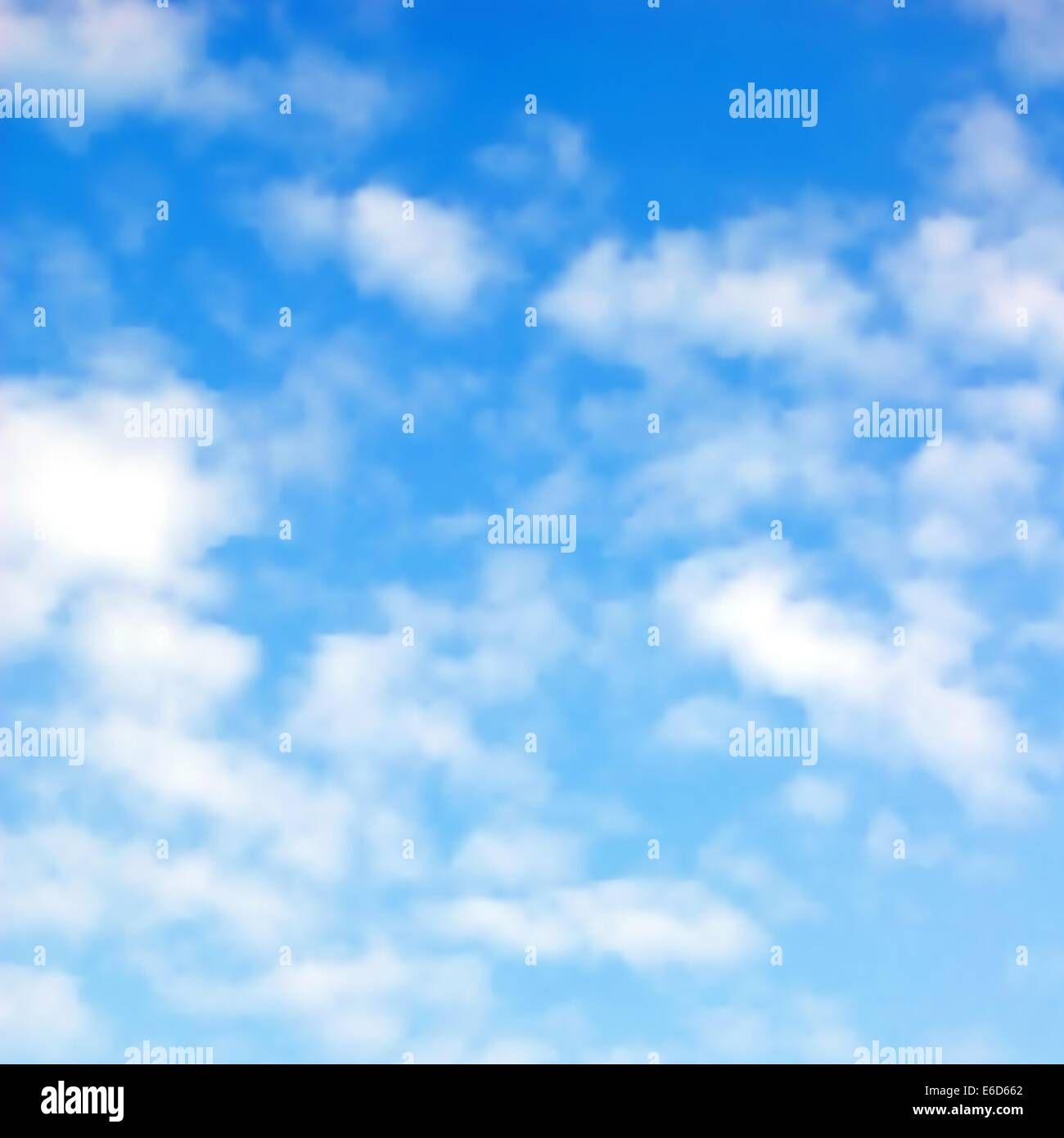 Editable vector illustration of fluffy white clouds in a blue sky made using a gradient mesh - Stock Vector