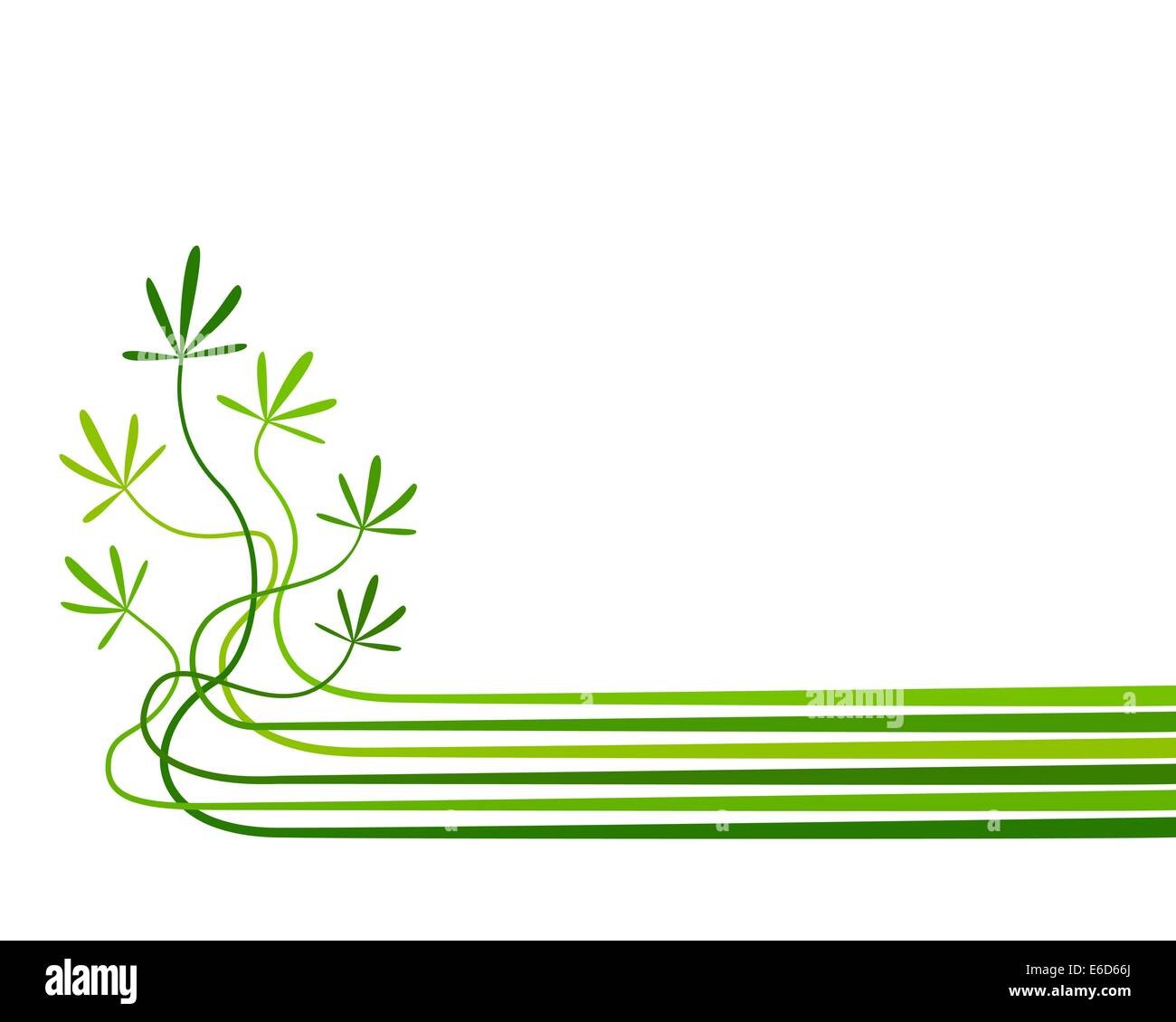 Abstract editable vector background of plants with copy space - Stock Vector