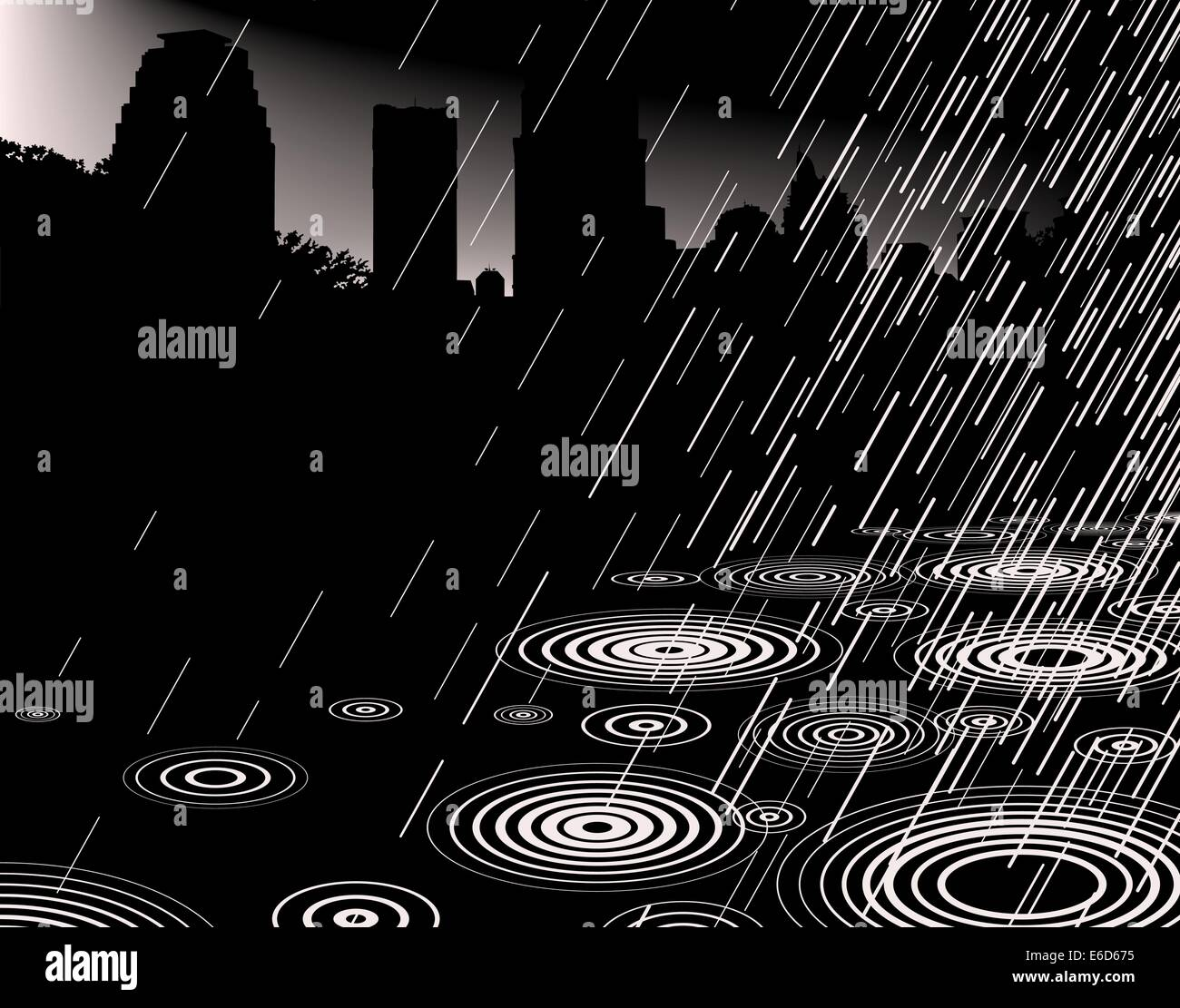 Editable vector illustration of rain with a city skyline and copy-space - Stock Vector