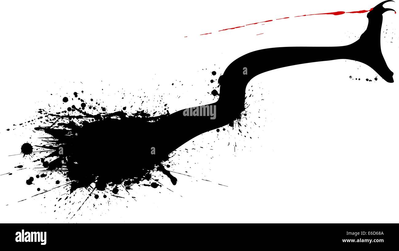 Editable vector grunge silhouette of a striking snake - Stock Vector