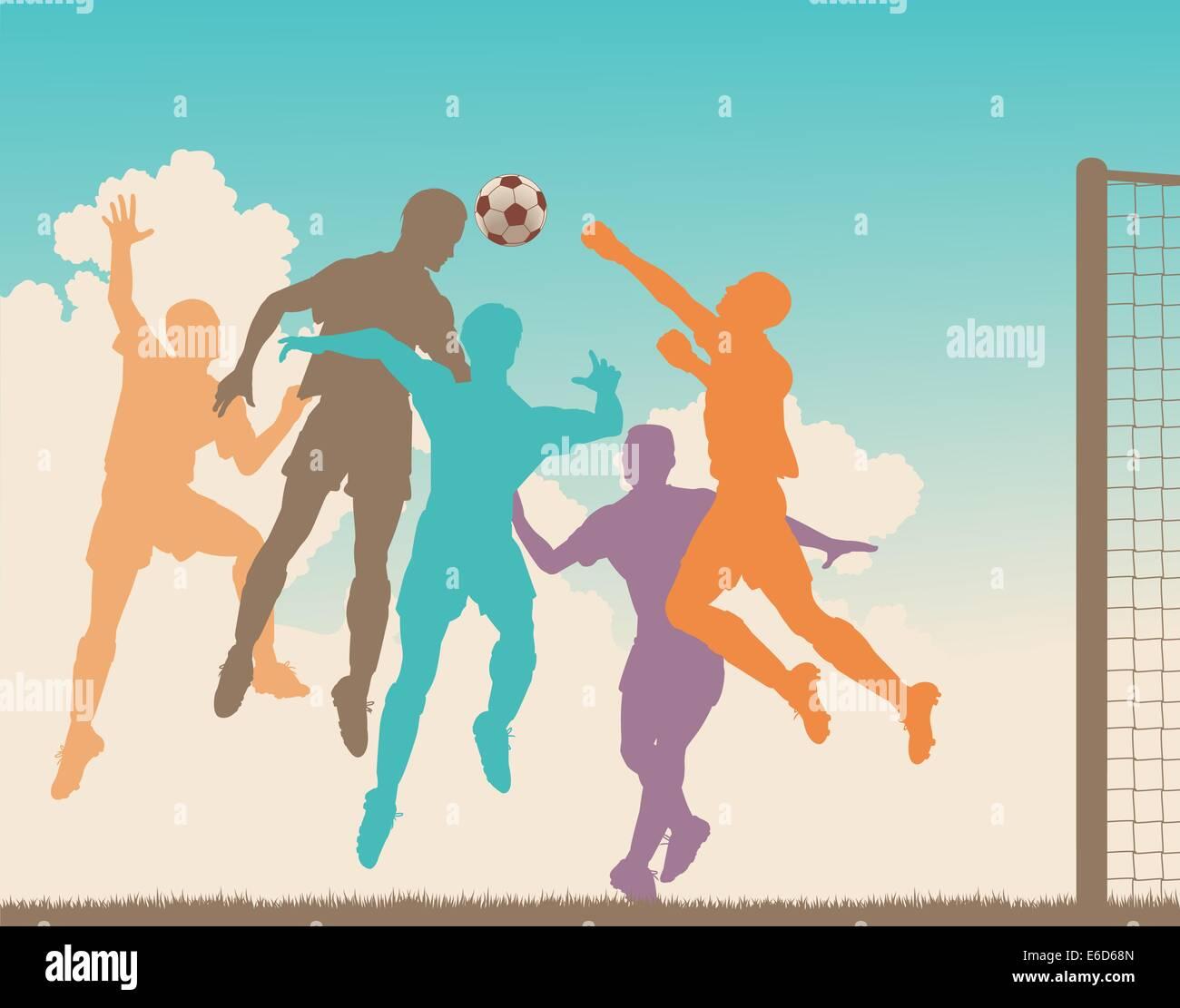 Colorful editable vector silhouette of a footballer heading the ball at goal - Stock Vector