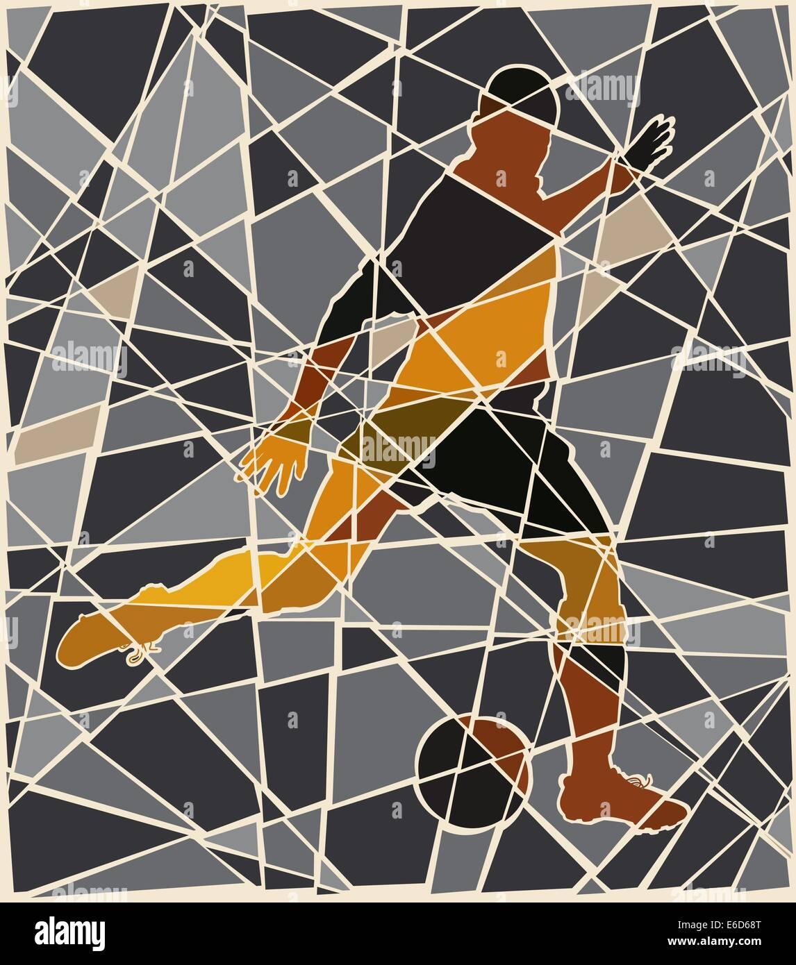 Editable vector mosaic illustration of a man kicking a football - Stock Vector