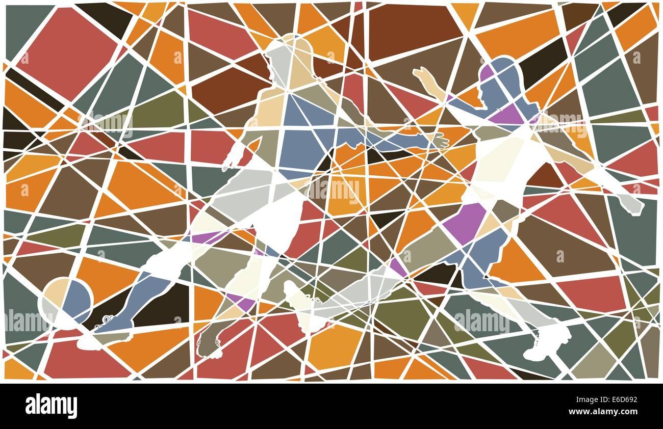 Editable vector colorful mosaic illustration of men playing football - Stock Vector