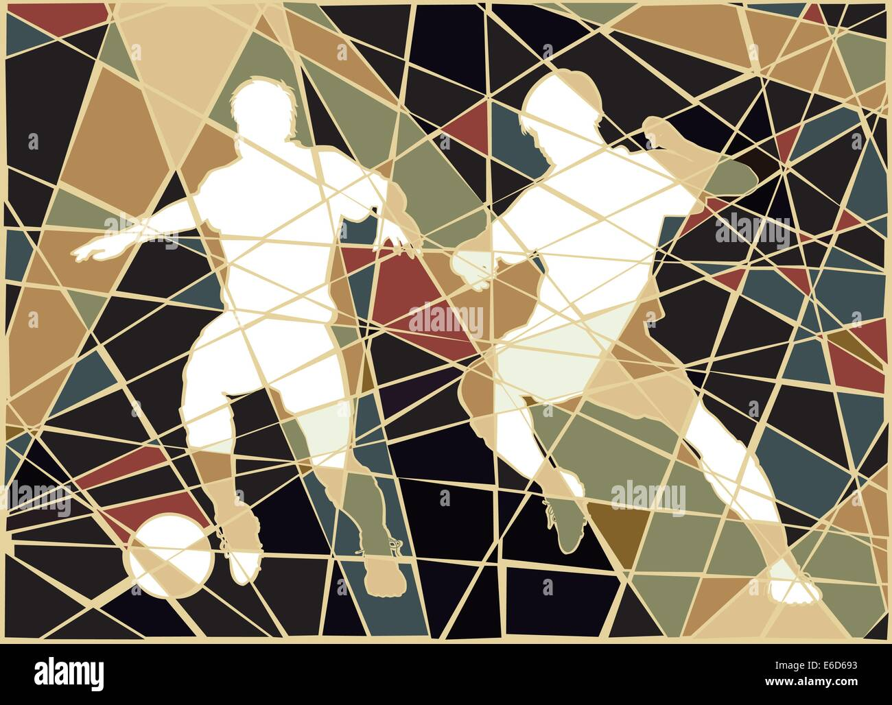 Editable vector colorful mosaic illustration of two men playing football - Stock Vector