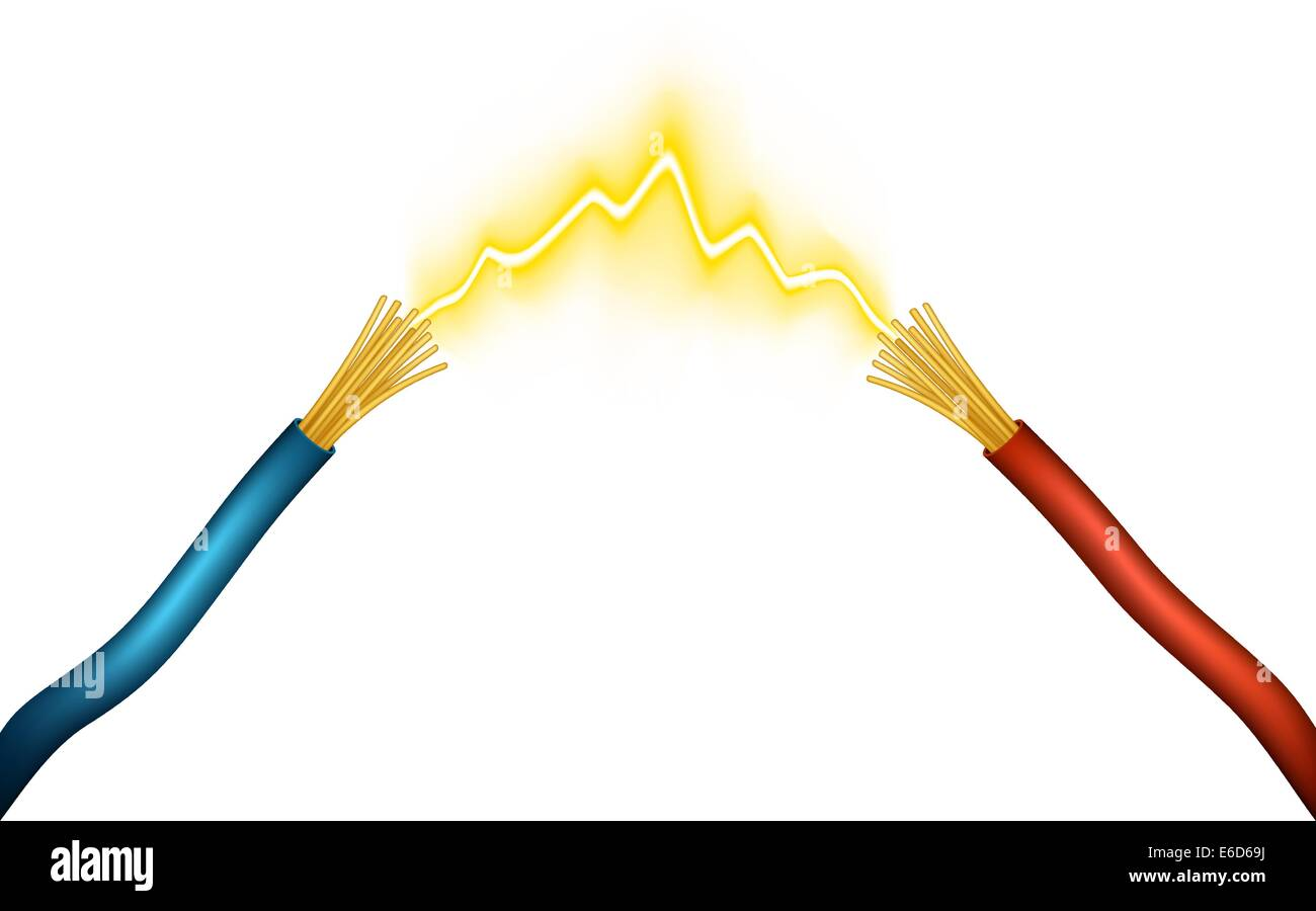 Editable vector illustration of an electrical spark between positive and negative wires made using gradient meshes - Stock Image