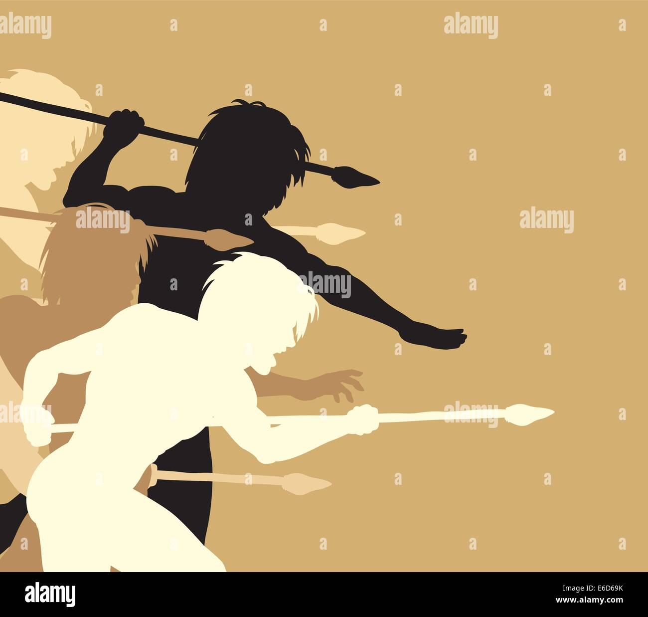 Editable vector silhouettes of cavemen holding spears threateningly - Stock Vector
