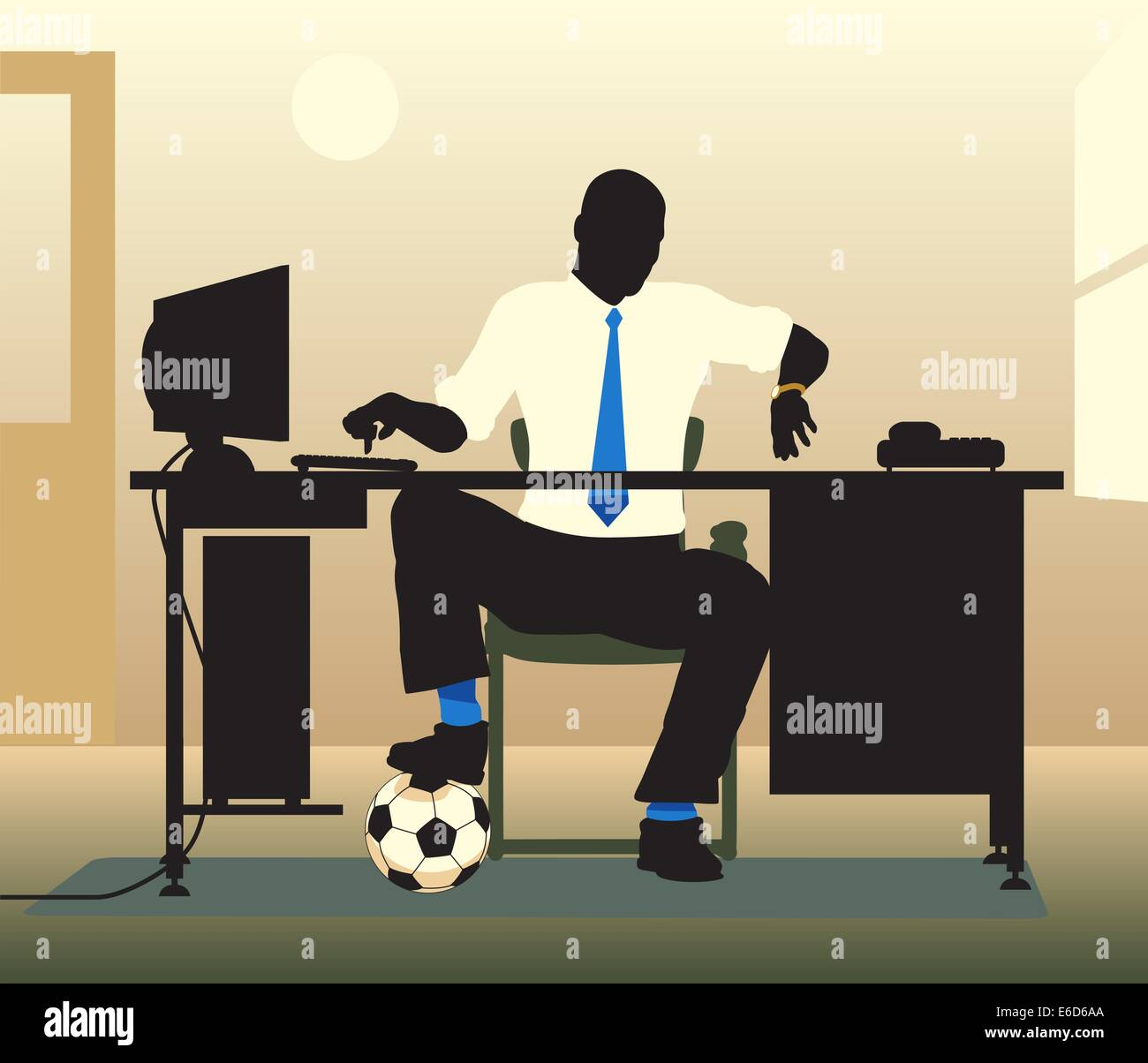 Editable vector illustration of an office worker with a football looking at his watch - Stock Vector