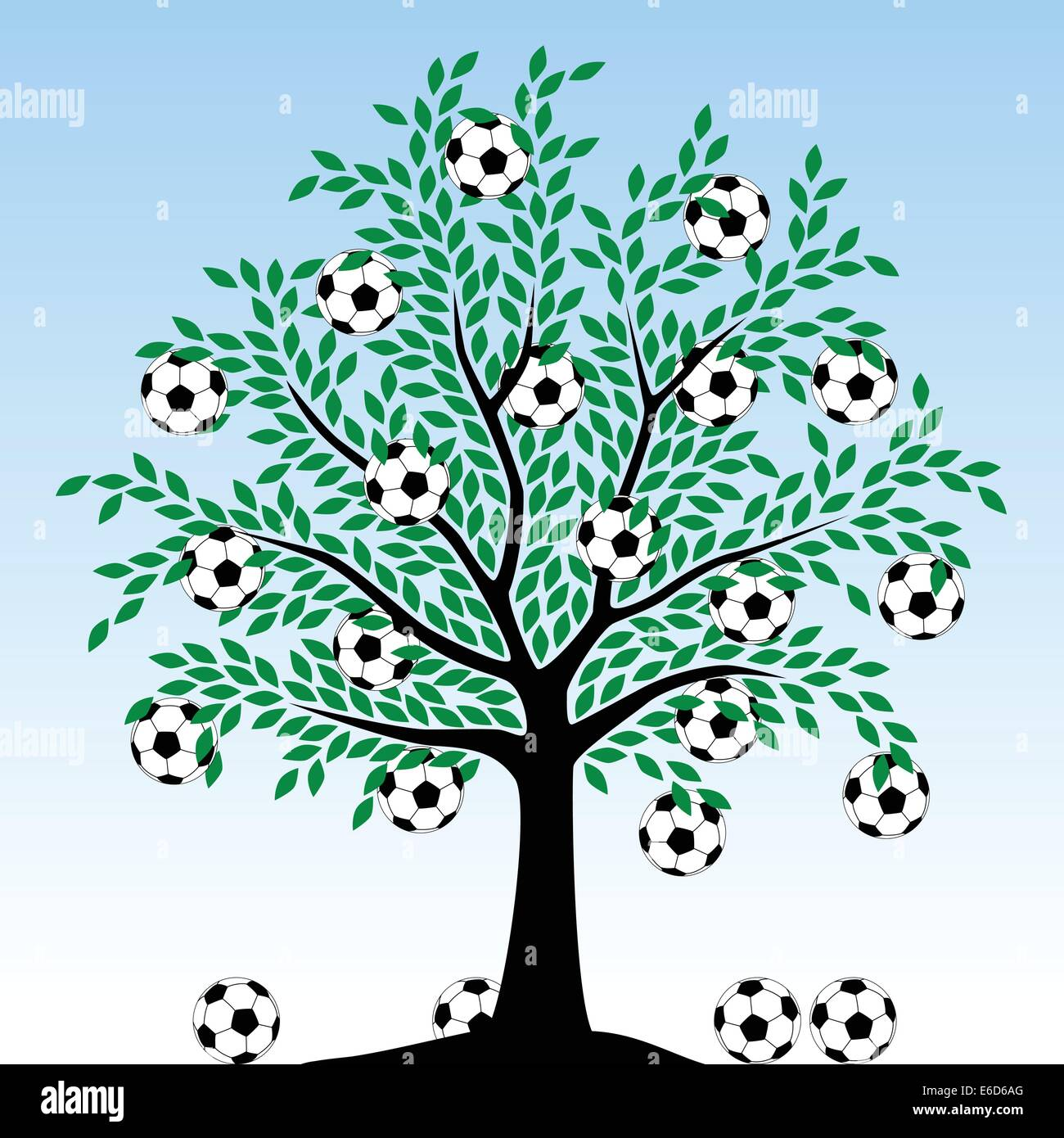 Editable vector illustration of a tree with football fruit - Stock Vector
