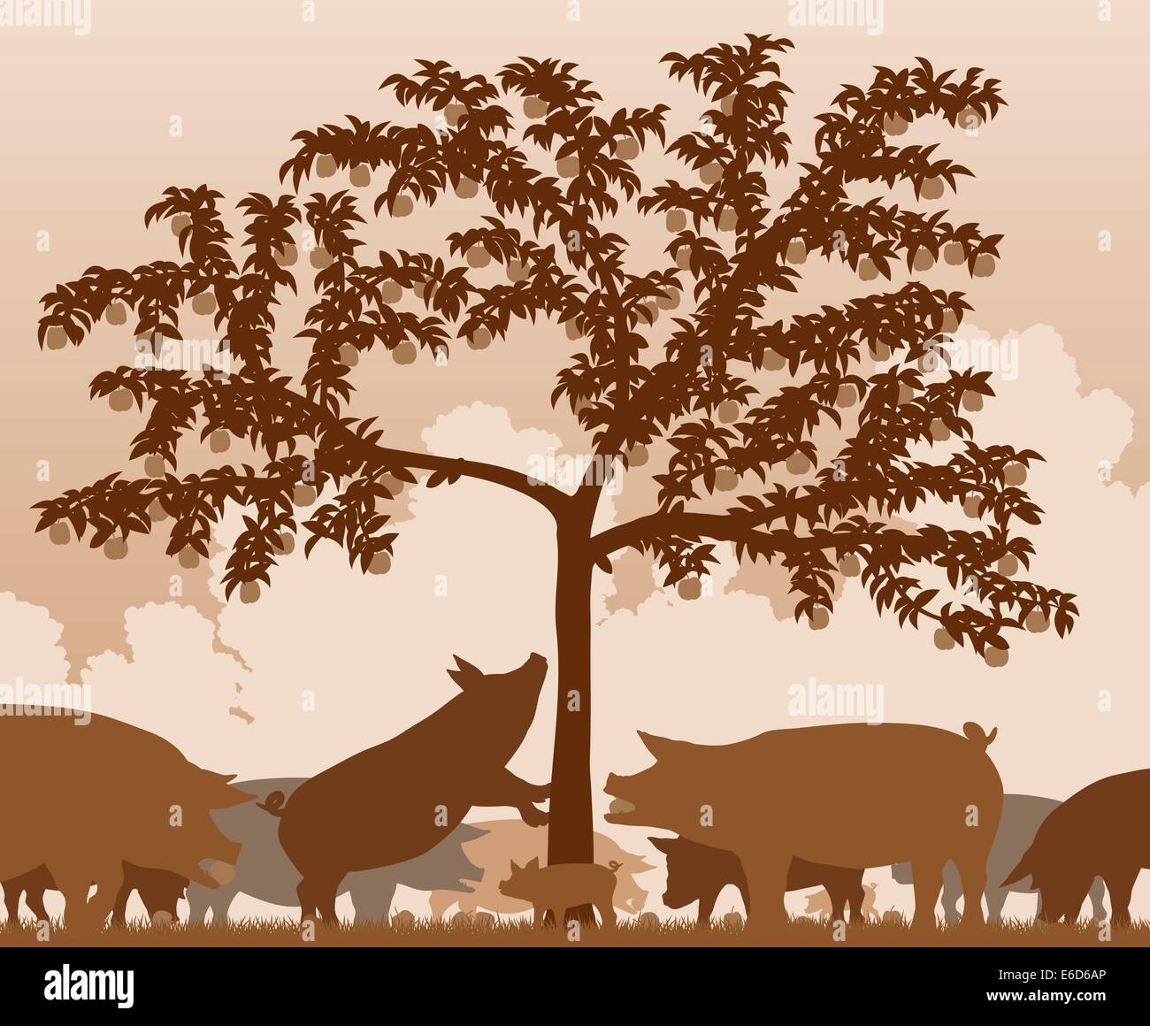 Editable vector illustration of free-range pigs feeding under an apple tree with all figures as separate objects - Stock Vector