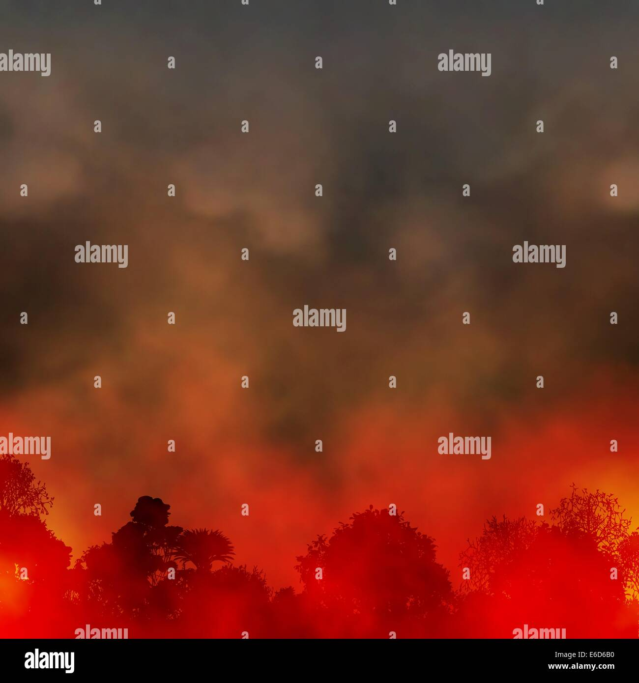 Editable vector EPS10 illustration of a smoky forest fire made using a gradient mesh - Stock Image
